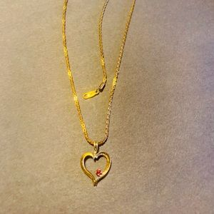 18k GP stamped necklace and heart pendant
